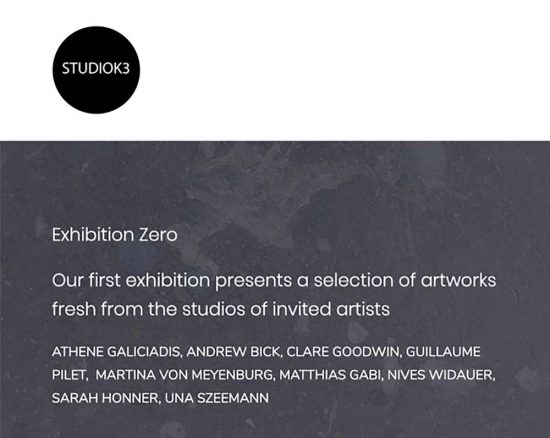 infos online group show 'ARTISTS IN ISOLATION - Exhibition Zero' 2020, www.studioK3.ch, curated by Clare Goodwin