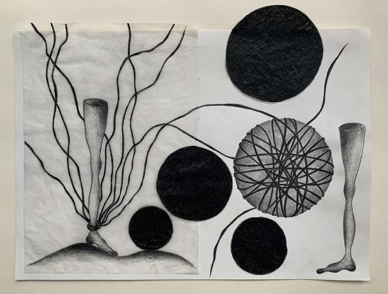 'Fussfessel' drawing, group show 'ARTISTS IN ISOLATION - Exhibition Zero' 2020, www.studioK3.ch, curated by Clare Goodwin