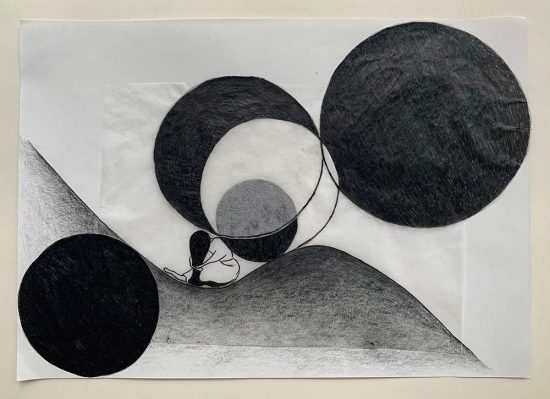 'Immersion' drawing, group show 'ARTISTS IN ISOLATION - Exhibition Zero' 2020, www.studioK3.ch, curated by Clare Goodwin