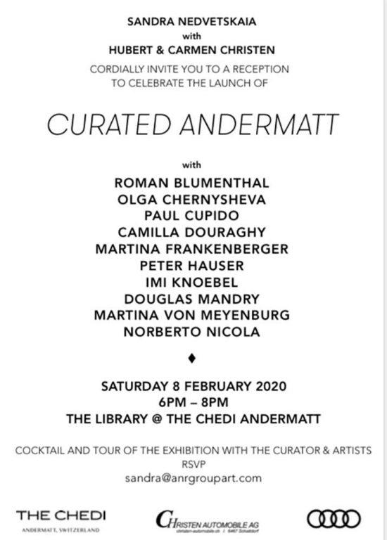 Invite 'CURATED ANDERMATT' 2019, group show, curated by Sandra Nedvedskaia, Andermatt