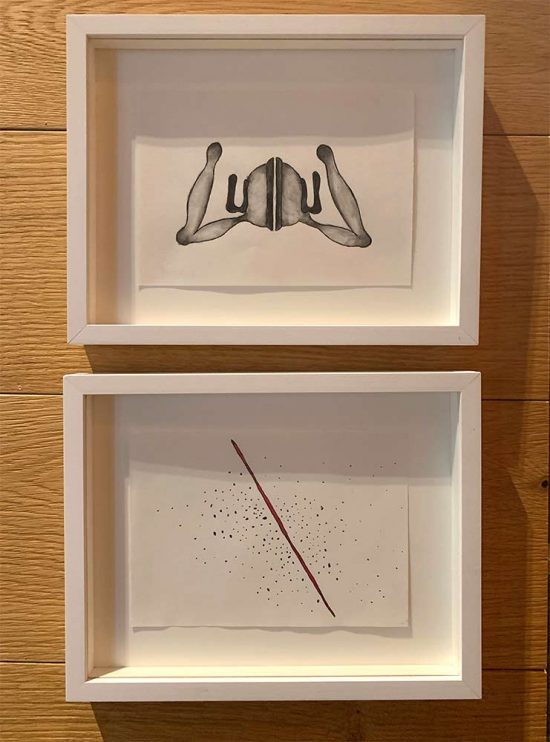 installation view drawings 'Prayer' and 'Red Line', group show 'CURATED ANDERMATT' 2019