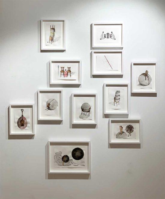 Drawings at 'DAS KABINETT IM KABINETT' 2018, double show Clare Goodwin/Martina von Meyenburg, im kabinett visarte zuerich, Zurich, Switzerland