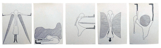 'Adaptation' 2013 (ink pen on paper, each 21x14.8 cm)