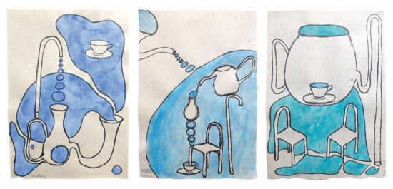 'Bubbles' 2013 (ink pen and water colour on paper, each 21x14.8 cm)