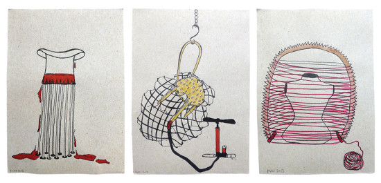 'Memory-traced objects I' 2013 (ink pen, felt pen and water colour on paper, each 21x14.8 cm)