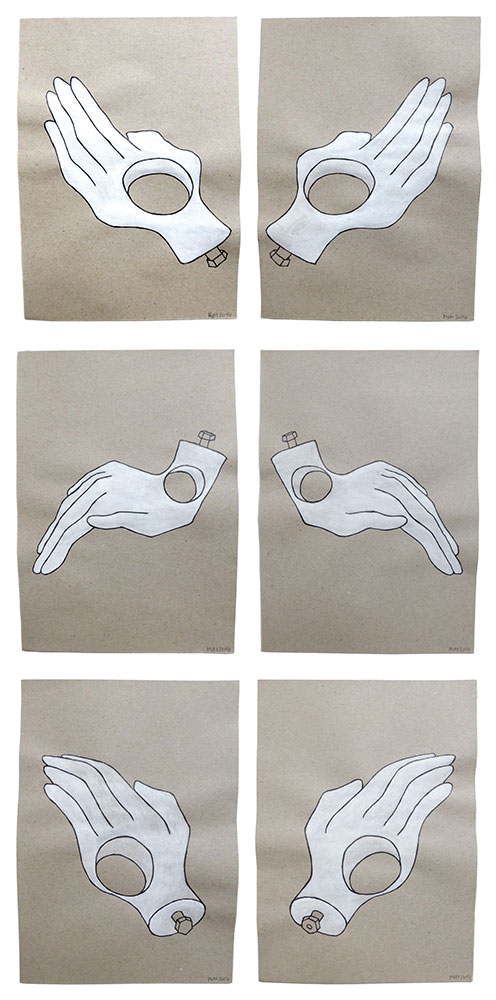 'Opposite hands I-III' 2014 (ink pen and water colour on paper, each 21x14.8 cm)