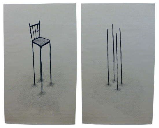 'Overhead' 2015 (ink pen and water colour on paper, each 60x100 cm)