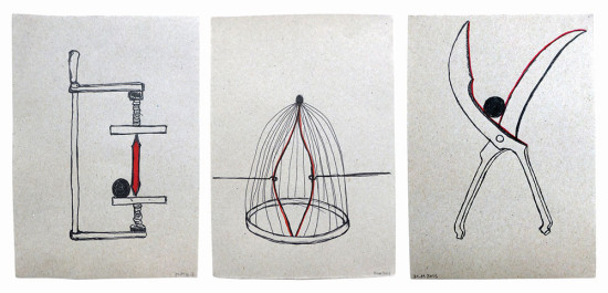 'Red lining' 2013 (ink pen and felt pen on paper, each 21x14.8 cm)