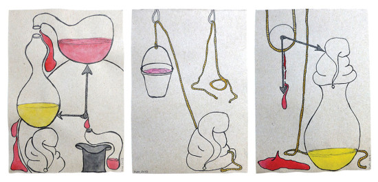 'Sleep in waiting' 2013 (ink pen and water colour on paper, each 21x14.8 cm)