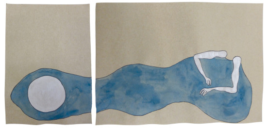 'Sleeping beauty' 2016 (ink pen and water colour on paper, each 21x14.8 cm and 21x29.5 cm)