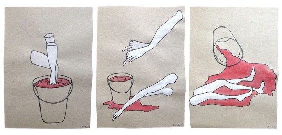 'Spill the bucket' 2014 (ink pen and water colour on paper, each 21x14.8 cm)