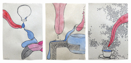 'Taste' 2013 (ink pen and water colour on paper, each 21x14.8 cm)