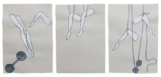 'White legs' 2014 (ink pen and water colour on paper, each 21x14.8 cm)