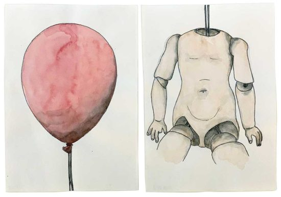 'Ballooned' 2018 (pencil, ink pen, watercolour on paper; each 21x14.8 cm)