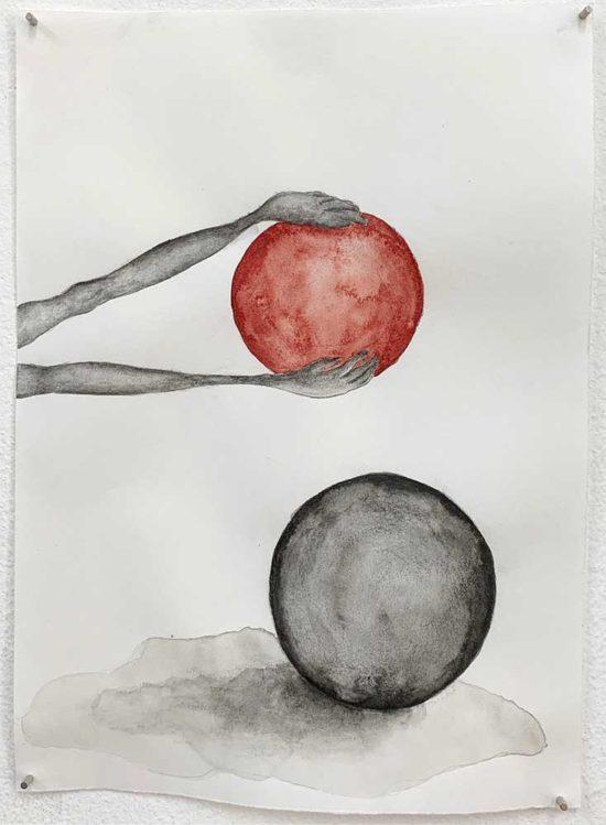 'Behold' 2019 (pencil, gouache pencil, water colour on paper / 21x14.8cm)