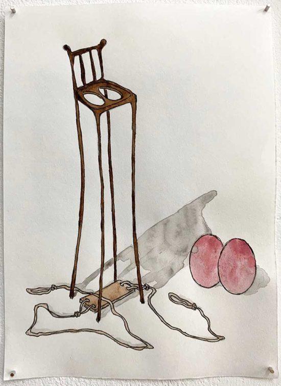 'Detached' 2018 (pencil, ink pen, water colour on paper / 21x14.8cm)