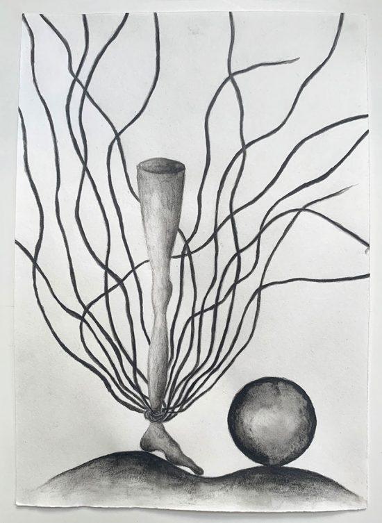 'Die Fessel' 2020 (pencil, gouache pencil on paper / 21 x 14.8 cm)