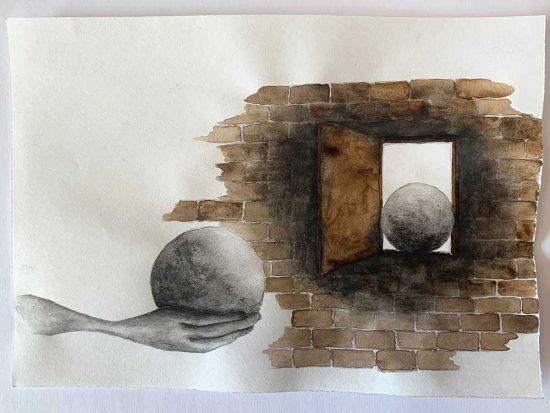 'Doorway' 2019 (pencil, gouache pencil, water colour on paper / 14.8 x 21 cm)