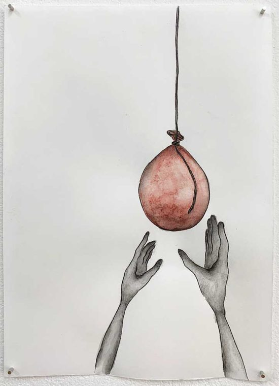 'Drooping Balloon' 2019 (pencil, gouache pencil, ink pen on paper / 21x14.8cm)