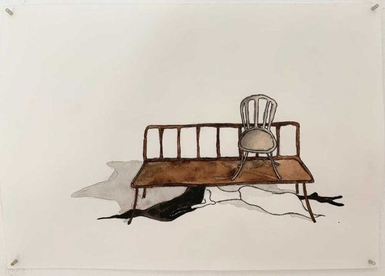 'Drunter (Below)' 2018 (pencil, ink pen, water colour on paper / 21x14.8cm)