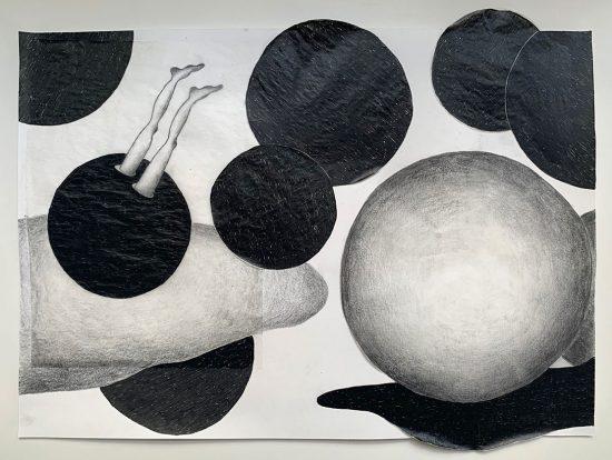 'Eingetaucht' 2020 (pencil, gouache pencil, uni-ball pen, tracing paper, glue on paper / 23 x 29.7 cm)