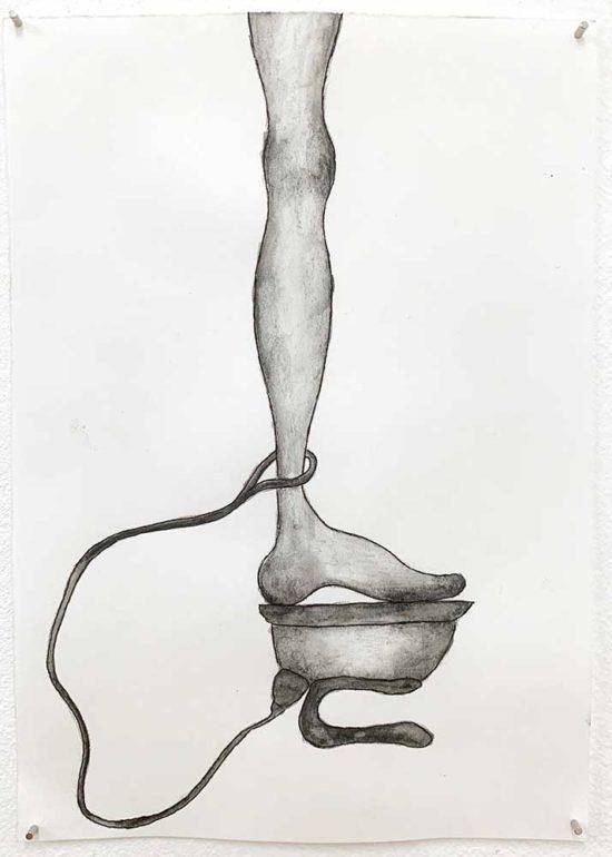 'Footprint' 2019 (pencil, gouache pencil, ink pen on paper / 21x14.8cm)