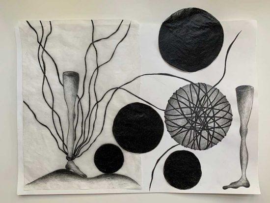'Fussfessel' 2020 (pencil, gouache pencil, uni-ball pen, tracing paper, glue on paper / 21 x 29.7 cm)
