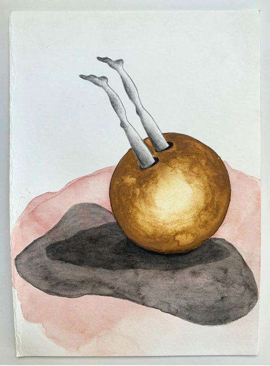 'Leap' 2020 (pencil, gouache pencil, watercolour, watercolour pencil on paper / 21 x 29.7cm)