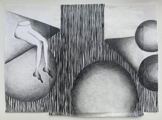 'Reverie' 2020 (pencil, gouache pencil, uni-ball pen, tracing paper, glue on paper / 23 x 29.7 cm)