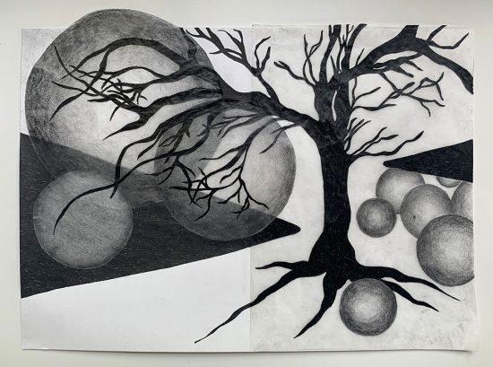'Schwarzer Baum' 2020 (pencil, gouache pencil, uni-ball pen, tracing paper, glue on paper / 22 x 29.7 cm)