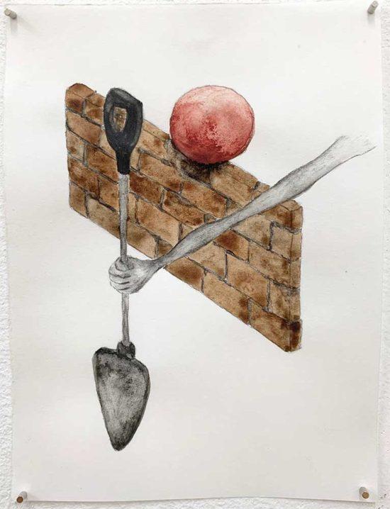 'Shovel' 2019 (pencil, gouache pencil, water colour on paper / 14.8x10.5 cm)