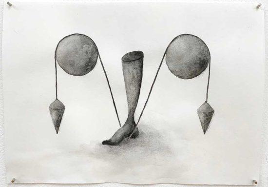 'Steady (Standfest)' 2019 (pencil, gouache pencil on paper / 14.8x21 cm)
