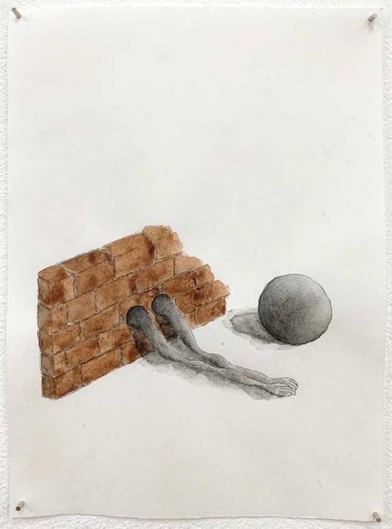 'Time out' 2019 (pencil, gouache pencil, water colour on paper / 21x14.8 cm)
