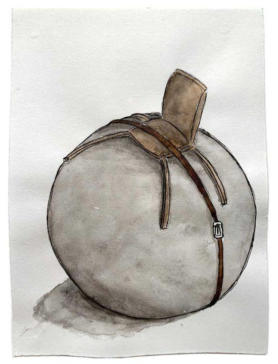 'Under the belt' 2018 (pencil, ink pen, watercolour on paper; 17x21 cm)
