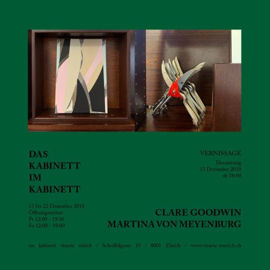 Flyer 'DAS KABINETT IM KABINETT' 2018, double show Clare Goodwin/Martina von Meyenburg, im kabinett visarte zuerich, Zurich, Switzerland