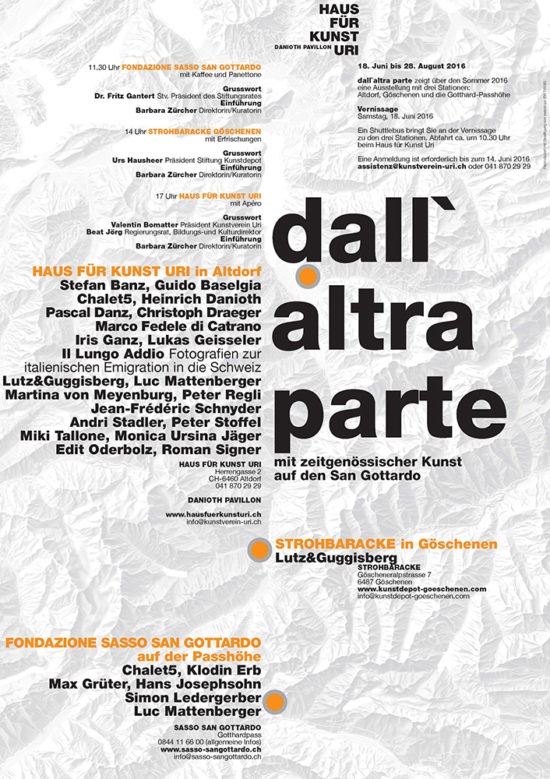 Invitation card 'Dall' Altra Parte' group show 2016, Haus für Kunst Uri, Altdorf, Switzerland