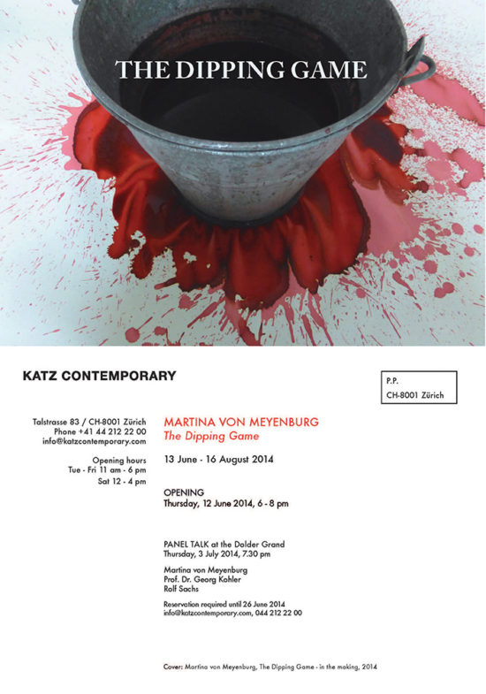 Invitation card 'The Dipping Game' solo exhibition 2014, KATZ CONTEMPORARY, Zurich