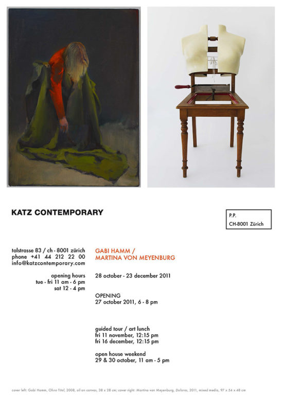 Invitation card 'Gabi Hamm/Martina von Meyenburg' double show 2014, KATZ CONTEMPORARY