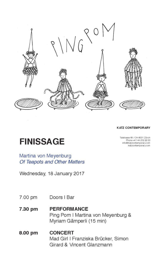 Invitation card finissage 'Of Teapots and Other Matters' and performance 'PING POM' with Myriam Gämperli (drawing Myriam Gämperli)