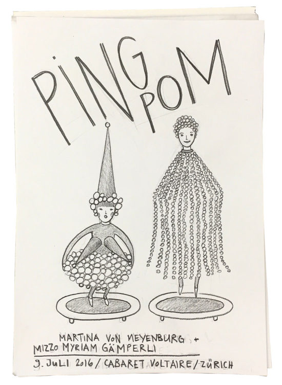 Invitation/Acceptance card for 'PING POM' live performance by Myriam Gämperli & Martina von Meyenburg at Manifesta 11 Zurich, Cabaret/Zunfthaus Voltaire, 2016 (drawing by Myriam Gämperli)