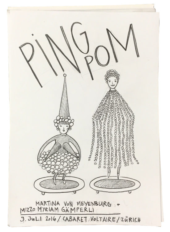 Invitation/Acceptance card for 'PING POM' live performance by Myriam Gämperli & Martina von Meyenburg at Manifesta 11 Zurich, Cabaret/ Zunfthaus Voltaire, 2016 (drawing by Myriam Gämperli)