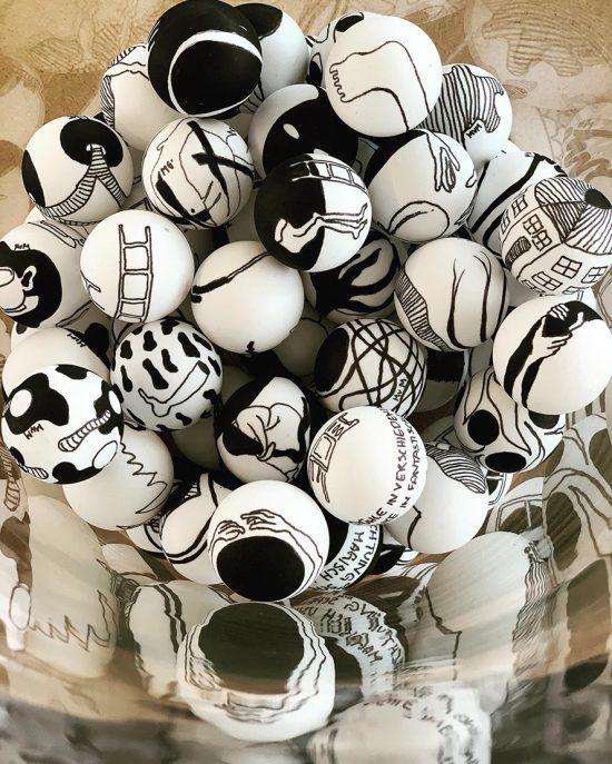 hand painted balls by Martina von Meyenburg / Myriam Gämperli at The Art Cabinet by StudioK3, group show, 2020, Zurich