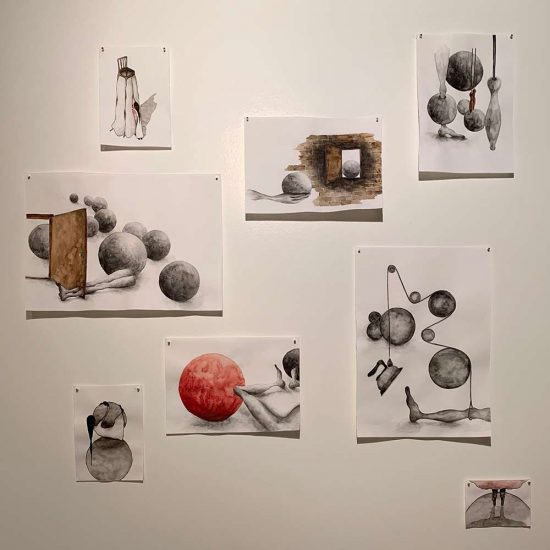 installation view of drawings, solo show 'Pleasure and Gloom', FRÉDÉRIQUE  HUTTER art concept, Zurich